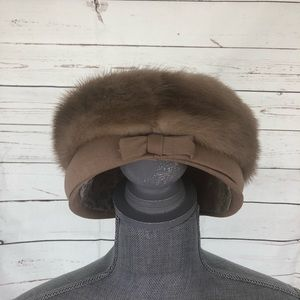 Vintage Fur Pill Box Hat Cream 1950s Pinup